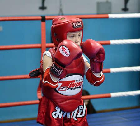 Orenburg, Russia - October 20, 2019: Girls compete in Thai boxing for the Orenburg Cup in Thai boxing Editorial