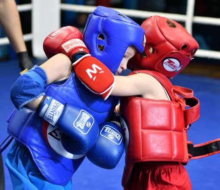 Orenburg, Russia - October 20, 2019: Boys compete in Thai boxing for the Orenburg Cup in Thai boxing