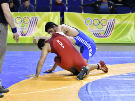 Orenburg, Russia - March 15-16, 2017: Young men compete in the sports wrestling at the Volga Federal District Championship in sports wrestling 報道画像