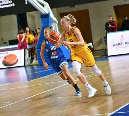 Orenburg, Russia - October 3, 2019: Girls play basketball in the match of the Russian Championship between basketball clubs