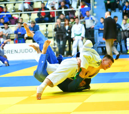 Orenburg, Russia - 21 October 2017: Boys compete in Judo at the all-Russian Judo tournament among boys and girls dedicated to the memory of VS Chernomyrdin