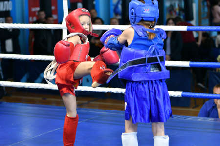 Orenburg, Russia - October 20, 2019: Girls compete in Thai boxing (Muay Thai) for the Orenburg Cup in Thai boxing Editorial