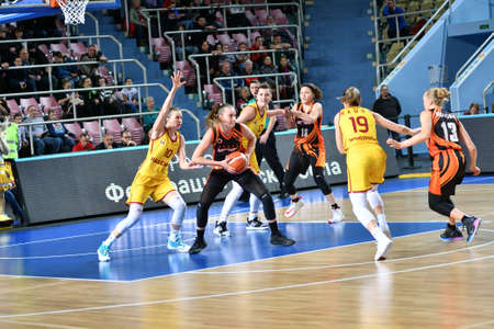 Orenburg, Russia - November 24, 2019: Girls play basketball in the Russian championship match between the basketball clubs