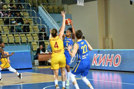 Orenburg, Russia - October 31, 2019: Girls play basketball Euroleague match between BC