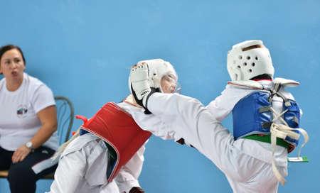 Orenburg, Russia - October 19, 2019: Boys compete in taekwondo (Korean martial arts) at Orenburg Open Taekwondo Championship
