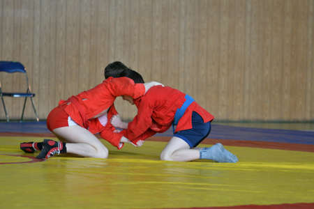 Orenburg, Russia - February 23, 2019: Boy competitions Self-defense without weapons on the Championship school sports
