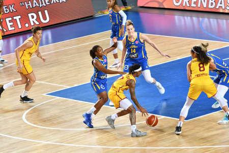 Orenburg, Russia - October 31, 2019: Girl play basketball Euroleague match between BC