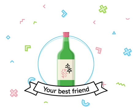 Soju bottle icon with memphis elements. Korean rice vodka for poster or social image. Korean Illustration