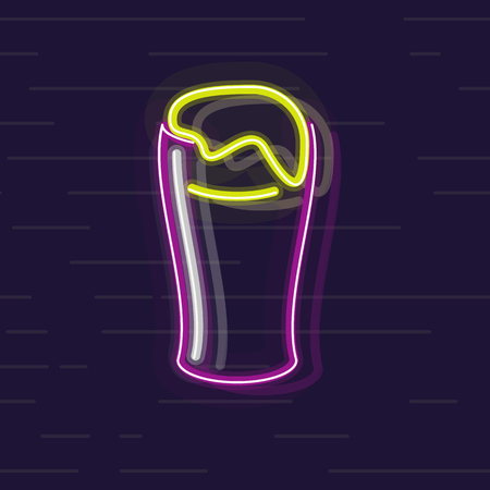 Neon glass of irish beer full with scum. Isolated on wall background flat line art style Illustration