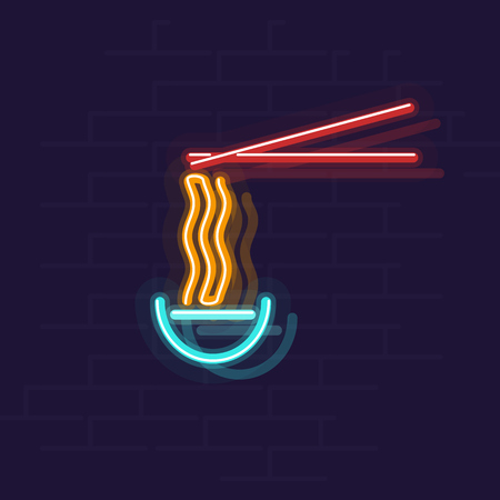 Neon ramen in bowl. Night illuminated wall street sign. Hot food in dark night. Isolated geometric style illustration on brick wall background