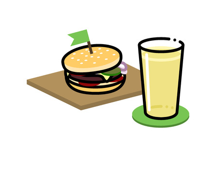 Cider and burger. Apple or pear cider with light burger with green flag on top of it. Small icon for menu or illustration for large poster. Isolated on white background flat line art style