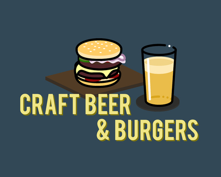 Craft beer and burgers. Illustration for poster or menu for bar or restaurant. Can be placed on dark or light background. Isolated flat line art style