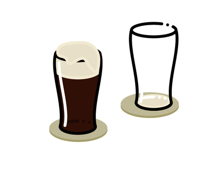 Two stout glasses. One empty, one full of irish beer with scum. Isolated on white background flat line art style