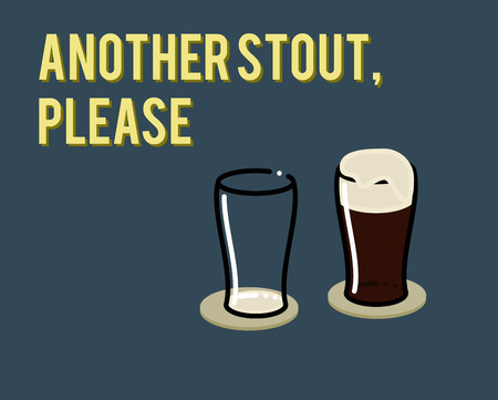 Another stout, please. Illustration of drinking irish stouts one after another. Empty glass and full with stout with scum Çizim