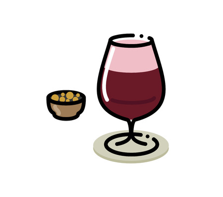 Glass of cherry beer. Small icon for menu or illustration for large poster. Isolated on white background flat line art style. Çizim