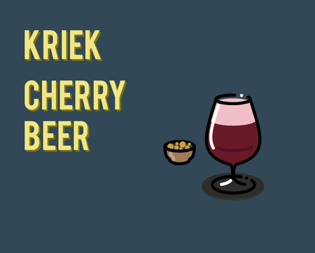 Belgian kriek cherry beer. Illustration for poster or menu for bar or restaurant. Can be placed on dark or light background.