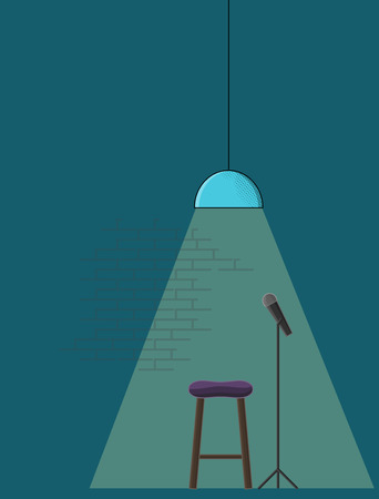 Open microphone stand-up comedy poster template. Line art style illustration with microphone, stand-up stool and trendy bar lamp.