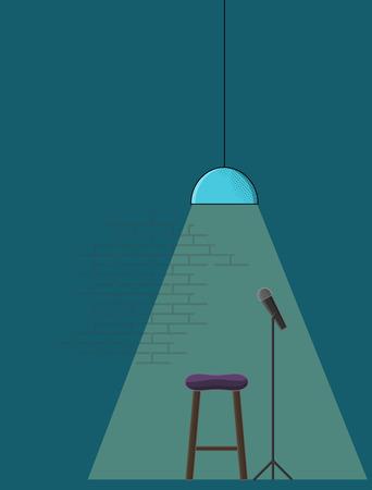 Open microfoon stand-up comedy poster sjabloon. Lijn kunst stijl illustratie met microfoon, sta-op kruk en trendy bar lamp.
