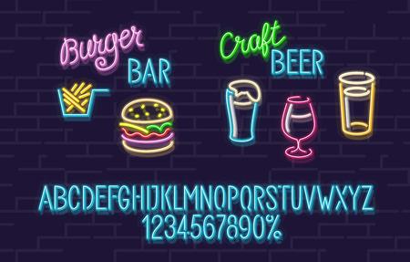 Set neon per hamburger e birreria artigianale. Carattere blu incandescente con lettere maiuscole. birra alla ciliegia e birra chiara. Hamburger delizioso e patatine fritte saporite Vettoriali