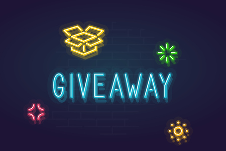 Neon giveaway sign. Glowing word with present box and shining stars around for text. Line art style neon illustration on brick wall background