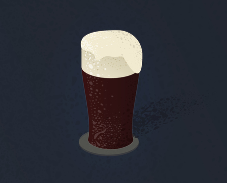 St. Patrick's day beer. Isolated dark irish beer on dark background. Textured shadows style illustration Vettoriali