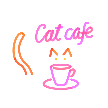 Cat cafe with cup logo template. Isolated line art style illustration on white background Vectores