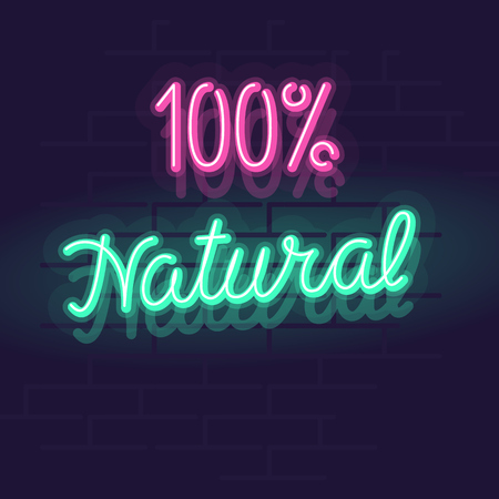 Neon 100% natural label for package, poster or web site. Isolated bright glowing handwritten text on brick wall background Vectores