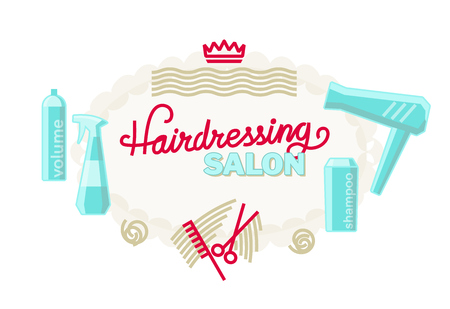 Hairdressing salon poster or logo template. Handwritten lettering with scissors, comb, dryer and other tools. Isolated on white background line art style illustration