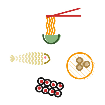 Oriental food icons set. Korean noodles, dim sum, kimbap and fish. Isolated line art style illustration on white background
