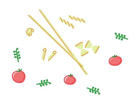 Italian pasta icons set. Isolated line art style illustration on white background