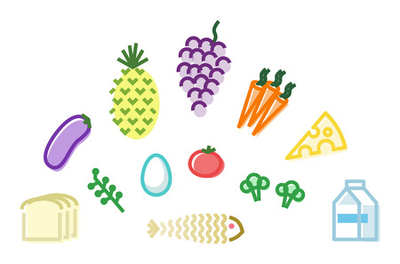 Healthy food set. eggs, cheese, bread, vegetables icons. Isolated line art style illustration on white background