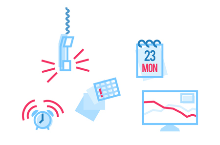 Monday workday in office icons set. Isolated line art style illustration on white background