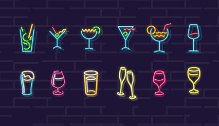 Neon drinks. Cocktails, wine, beer, champagne. Night illuminated wall street sign. Cold alcohol drinks in dark night. Isolated geometric style illustration on brick wall background