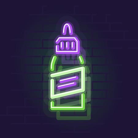 Neon vape liquid bottle. Night illuminated wall street sign. Isolated geometric style illustration on brick wall background 向量圖像