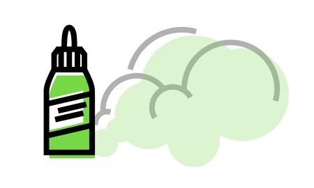 Vape liquid bottle with steam. Isolated geometric style illustration on white background
