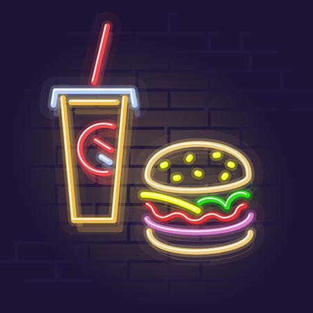 Neon burger and cola. Night illuminated wall street sign. Isolated geometric style illustration on brick wall background 向量圖像