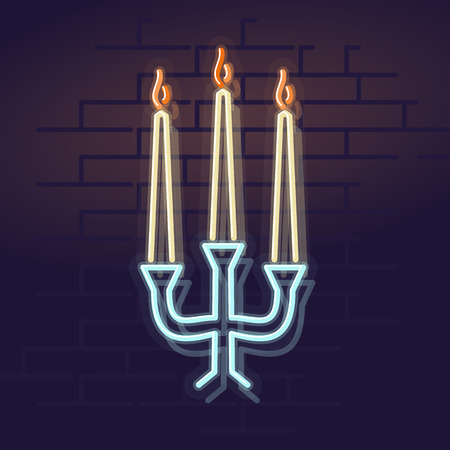 Neon candles. Night illuminated wall street sign. Isolated geometric style illustration on brick wall background