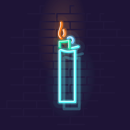 Neon lighter. Night illuminated wall street sign. Isolated geometric style illustration on brick wall background