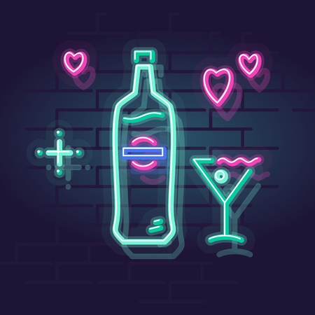 Neon martini in glass. Night illuminated wall street sign. Isolated geometric style illustration on brick wall background