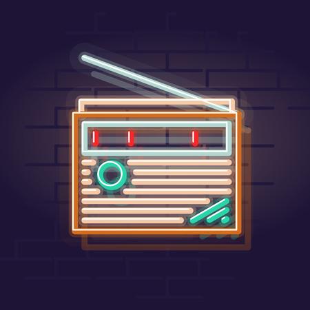 Neon radio. Night illuminated wall street sign. Isolated geometric style illustration on brick wall background 向量圖像