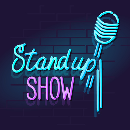 Neon stand up show mic with handwritten lettering. Night illuminated wall street sign. Isolated geometric style illustration on brick wall background Vettoriali