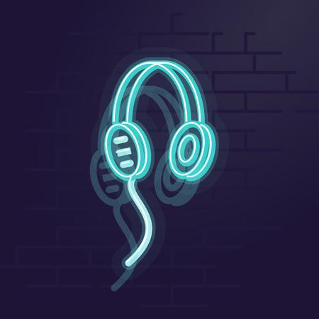 Neon headphones. Night illuminated wall street sign. Isolated geometric style illustration on brick wall background