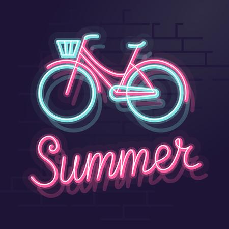 Neon summer bicycle. Night illuminated wall street sign. Isolated geometric style illustration on brick wall background