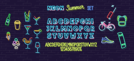 Neon summer icons and font set isolated on brick wall background. For logo, poster, banner. Headline and small condensed uppercase letters