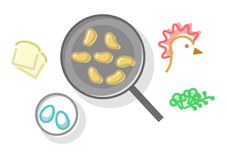 Chicken food. Modern memphis geometric isolated on white background line art style illustration 向量圖像