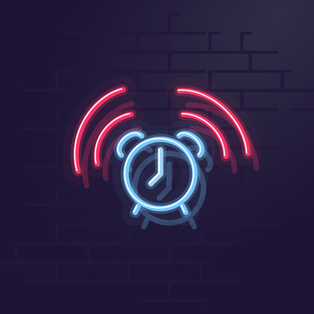 Neon alarm. Night illuminated wall street sign. Isolated geometric style illustration on brick wall background