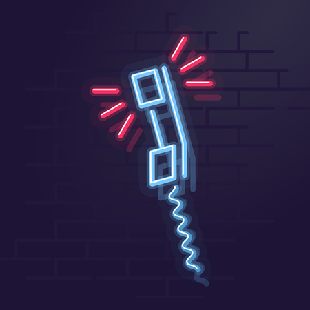 Neon ringing phone. Night illuminated wall street sign. Isolated geometric style illustration on brick wall background