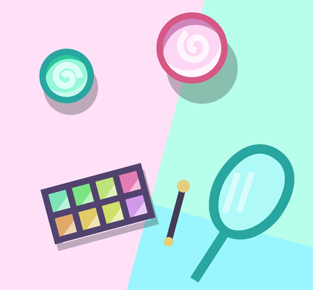 Make up products set. Eyeshadows, powder, mirror. Top view icons on pastel colors background