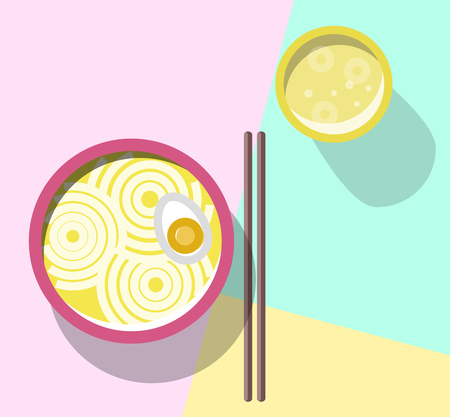 Noodles and beer on the table. Bowl with delicious ramen, chopsticks, craft beer in glass. Top view icons on pastel colors background