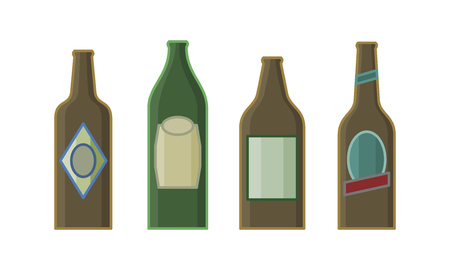 Different sorts of beer in bottles. Isolated line art style hand drawn illustration on white background 向量圖像